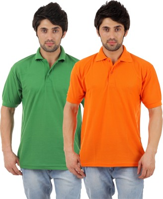 Escrow Solid Men's Polo Neck Orange, Green T-Shirt