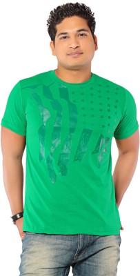 Ebry Printed Men's Round Neck Green T-Shirt