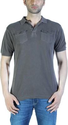 Parx Solid Men's Polo Neck Grey T-Shirt