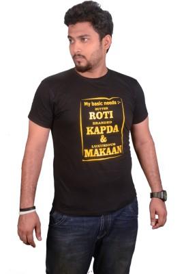 College Jugaad Printed Men's Round Neck Black T-Shirt