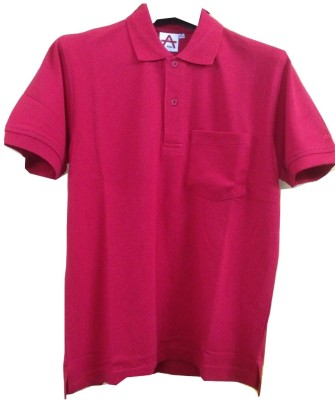 Athlet Solid Men's Flap Collar Neck Red T-Shirt