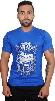 Boxrox Fitness Printed Men's Round Neck Blue T-Shirt