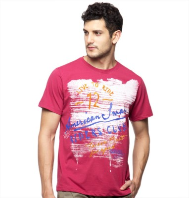 American Swan Solid Men's Round Neck Red T-Shirt