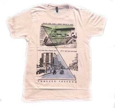 niue Graphic Print Men's Round Neck Pink T-Shirt