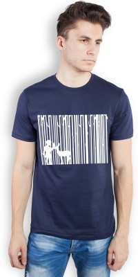 TOMO Printed Men's Round Neck Dark Blue T-Shirt