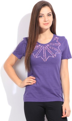 Reebok Classic Printed Women's Round Neck Purple T-Shirt