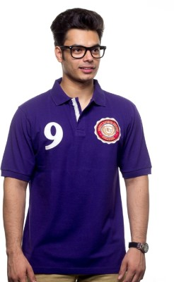 Unicott Solid Men's Polo Purple T-Shirt