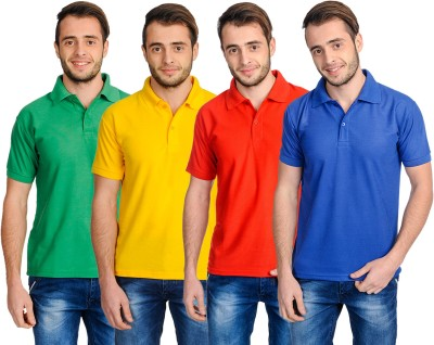 Superjoy Solid Men's Polo Neck Blue, Green, Yellow, Red T-Shirt