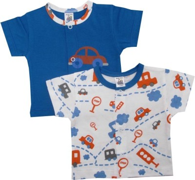 Magic Train Printed Baby Girl,s, Baby Boy's Round Neck Blue T-Shirt