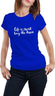 Girlful Printed Women's Round Neck Blue T-Shirt