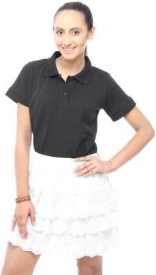 Unicolr Solid Women's Polo Neck Black T-Shirt