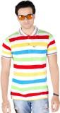 Yellow Dots Striped Men's Polo Multicolo...