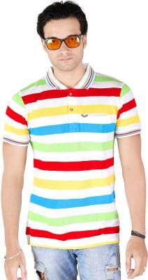 Yellow Dots Striped Men's Polo Multicolor T-Shirt