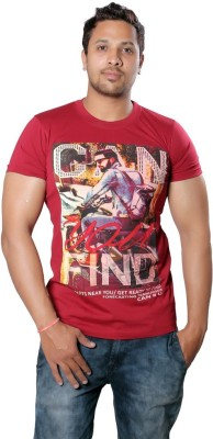 AR Printed Men,s Round Neck Maroon T-Shirt