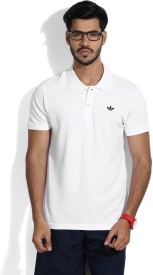 Adidas Solid Men's Polo Neck White T-shirt