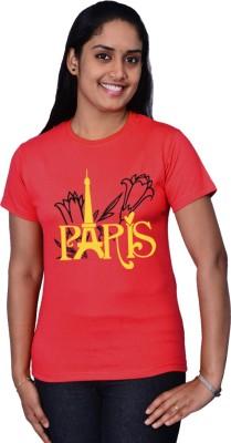 Zorba Mart Printed Women's Round Neck Red T-Shirt