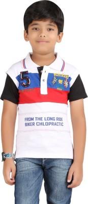 Libra Fashions Printed Boy's Polo Neck White T-Shirt