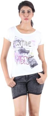 Kotty Printed Women's Round Neck White T-Shirt