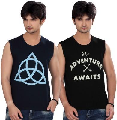Elegance Cut Printed Men's Round Neck Blue T-Shirt