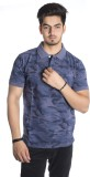 Qubic Printed Men's Mandarin Collar Blue...