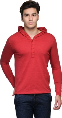 Wear Your Mind Solid Men's Henley Red T-Shirt