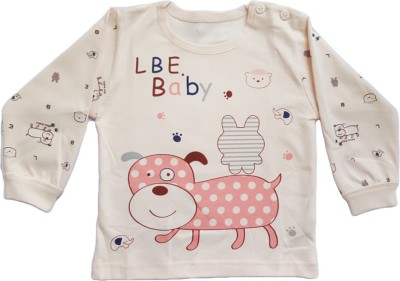 Upside Down Animal Print Baby Girl,s, Baby Boy's Round Neck Pink T-Shirt