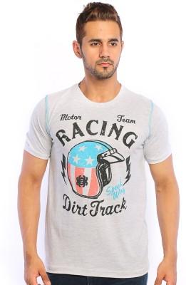 Webmachinez Graphic Print Men's Round Neck Grey T-Shirt