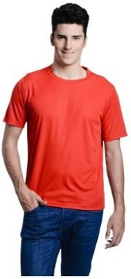 Look Fabs Solid Men's Round Neck Red T-Shirt