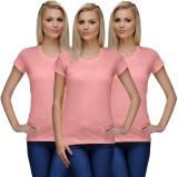 Nitlon Solid Women's Round Neck Pink T-S...