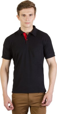100Tees Solid Mens Polo Neck Black T-Shirt