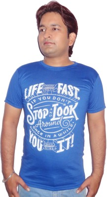 FRONEX INDIA Printed Men's Round Neck Blue T-Shirt