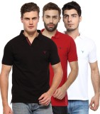 Youthen Solid Men's Polo Neck Black, Whi...