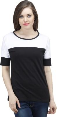 Osumfab Solid Women's Round Neck Reversible Black, White T-Shirt
