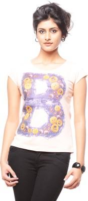 Trendy Girlz Graphic Print Women's Round Neck Beige T-Shirt