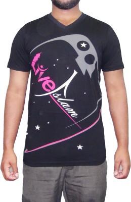 pious fashion club Printed Men,s, Boy's V-neck Black T-Shirt