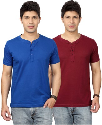 Top Notch Solid Men's Henley Blue, Maroon T-Shirt