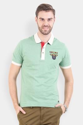 Crocodile Solid Men's Polo Green T-Shirt