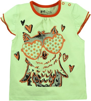 Baby Pure Printed Baby Girl's Round Neck Green T-Shirt