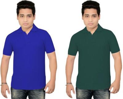 BrandTrendz Solid Men's Polo Neck Blue, Green T-Shirt
