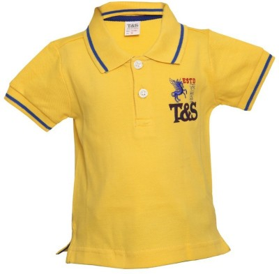 Tales & Stories Solid Baby Boy's Flap Collar Neck Yellow T-Shirt