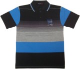 Miracle Striped Men's Polo Neck Black T-...