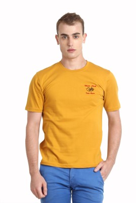Teen Tees Solid Men,s Round Neck Yellow T-Shirt