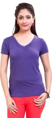 TVENO Solid Women's V-neck Purple T-Shirt