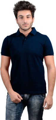 DS WORLD Solid Men's Polo Neck Dark Blue T-Shirt