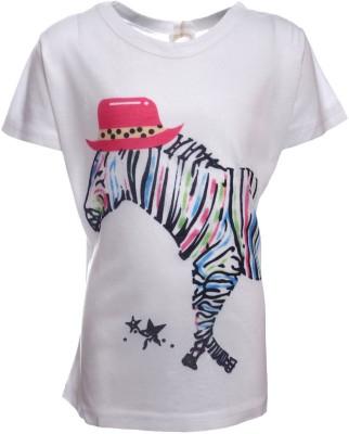 Sheena Printed Girl's Round Neck White T-Shirt