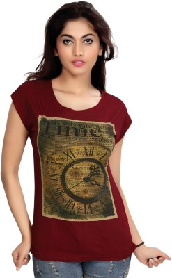 Comix Graphic Print Women's Round Neck Maroon T-Shirt