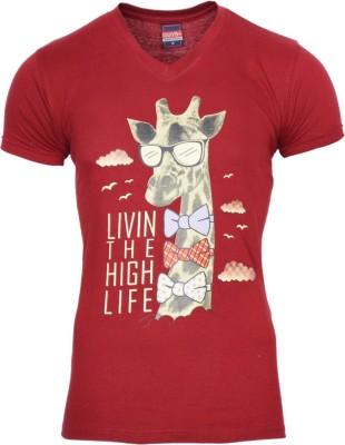 Avenster Printed Men's V-neck Maroon T-Shirt