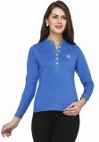 Run of luck Solid Women's Henley Dark Bl...