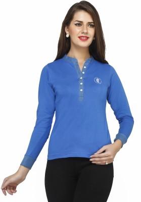 Run of luck Solid Women's Henley Dark Blue T-Shirt