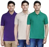 Fleximaa Solid Men's Polo Neck Purple, B...